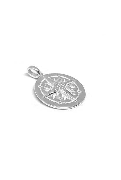 Zilveren ronde windroos kompas hanger
