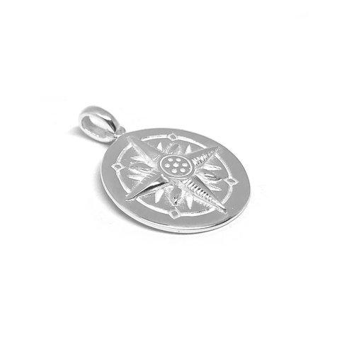 ZilverVoorJou Zilveren ronde windroos kompas hanger