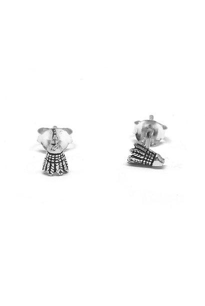 Zilveren zeer kleine badminton shuttle oorstekers