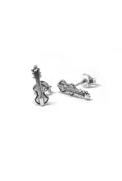 Zilveren zeer kleine viool oorstekers