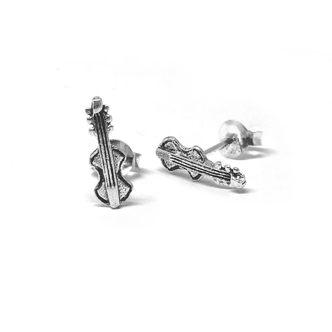 Zilveren zeer kleine viool oorstekers-1