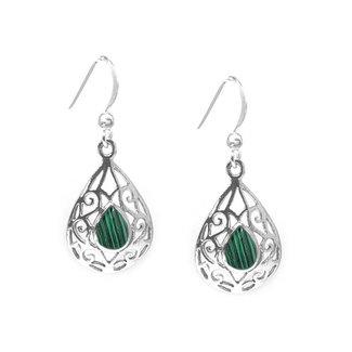 ZilverVoorJou Zilveren druppel malachiet groen oorbellen