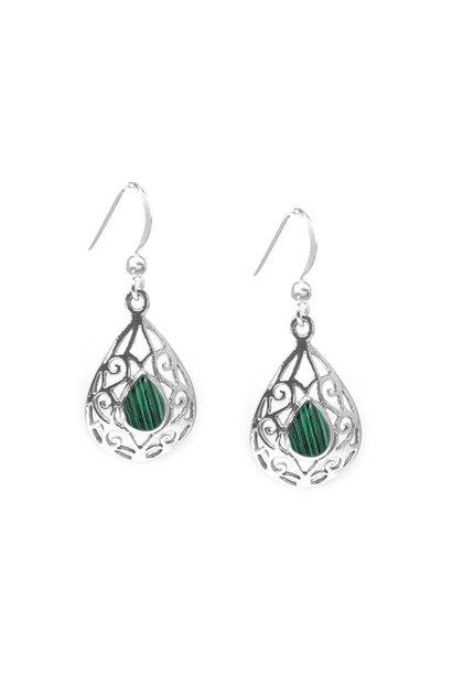 Zilveren druppel malachiet groen oorbellen