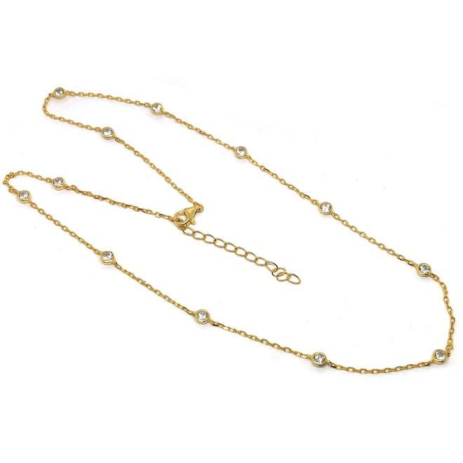 Vermeil goud op zilver diamond by the yard ketting