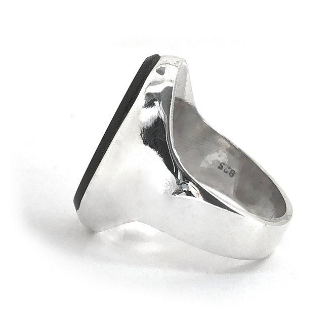 Zilveren grote ovale zwarte onyx heren dames ring