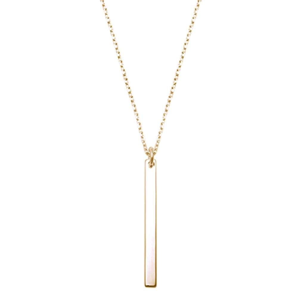 Vermeil goud op zilver bar ketting-1