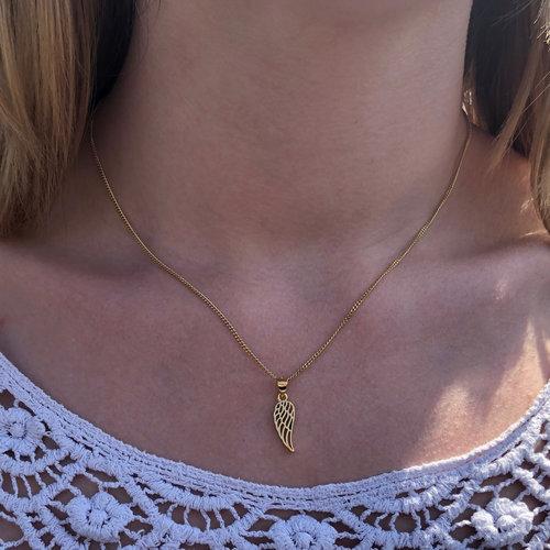ZilverVoorJou Vermeil geel goud vergulde 925 zilveren angel wing kettinghanger