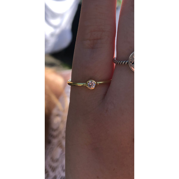Vermeil kleine witte cz solitair ring