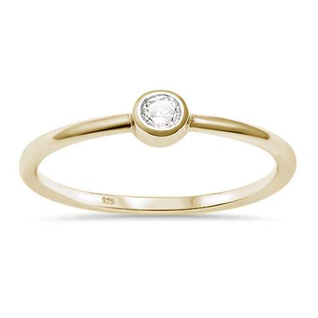 ZilverVoorJou Vermeil kleine witte cz solitair ring
