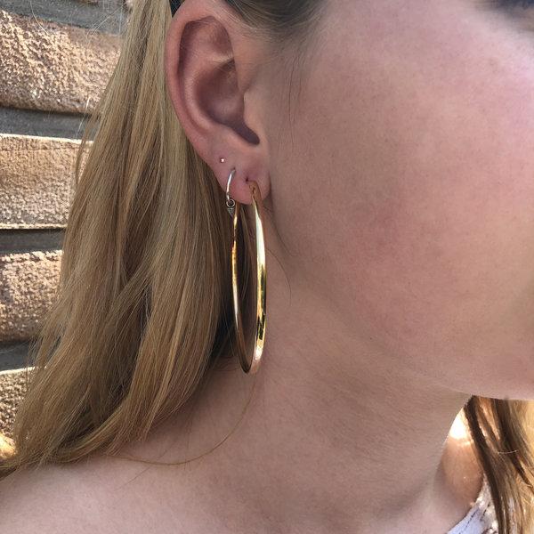 Vermeil creolen oorringen 60 mm ovale buis 2,8mm
