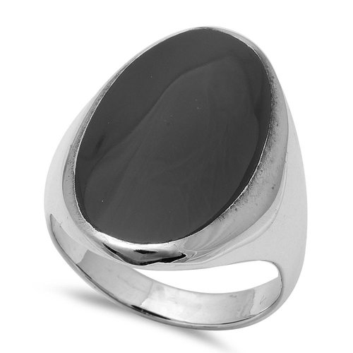 ZilverVoorJou Zilveren grote zwarte ovale onyx steen ring