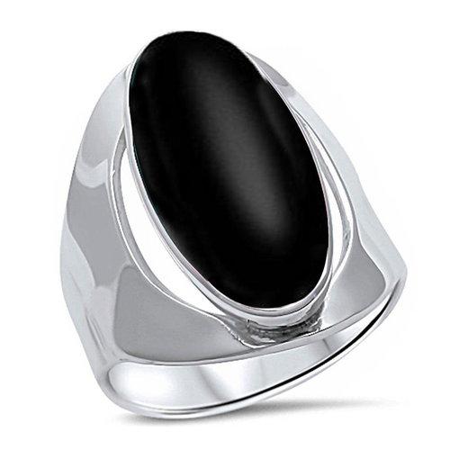 ZilverVoorJou Zilveren zwarte ovale onyx steen ring