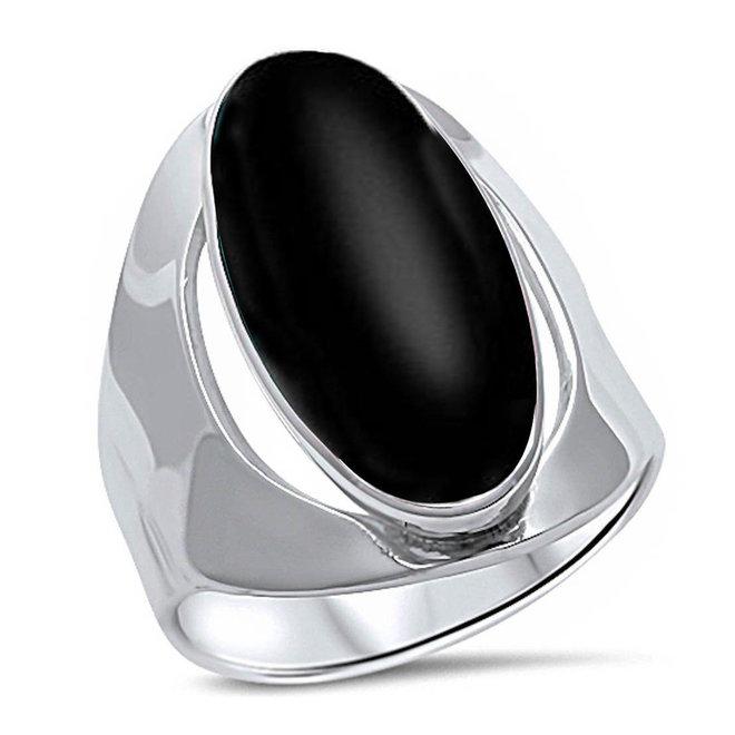 Zilveren zwarte ovale onyx steen ring