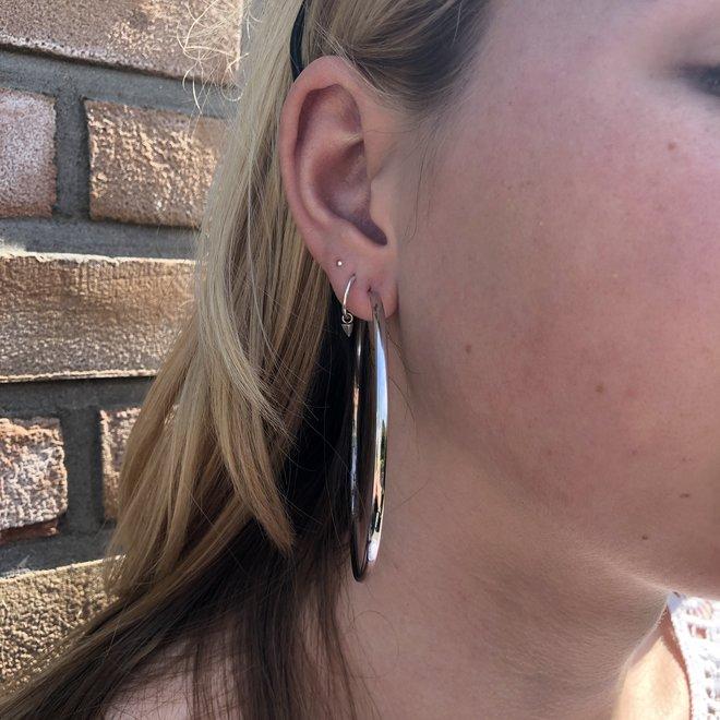 Zilveren creolen oorringen 70 mm ovale buis 2,8mm