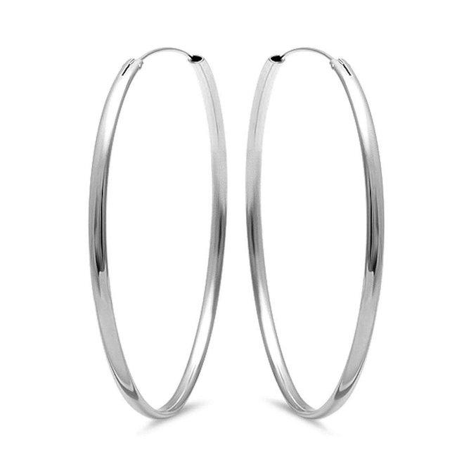 Zilveren creolen oorringen 60 mm ovale buis