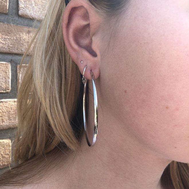 Zilveren  oorringen 60 mm ovale buis 2,8mm