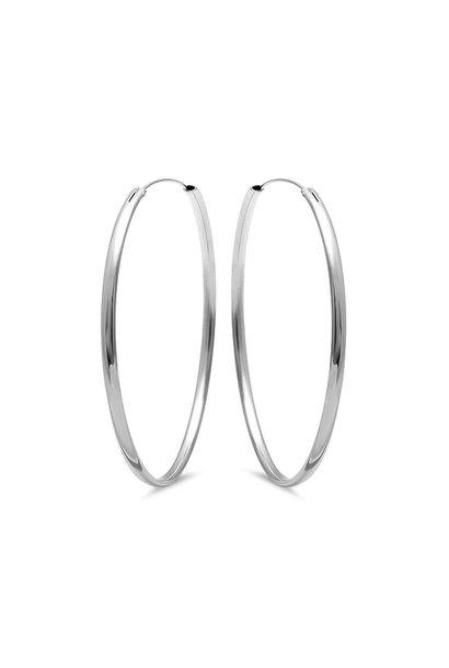 Zilveren creolen oorringen 50 mm ovale buis