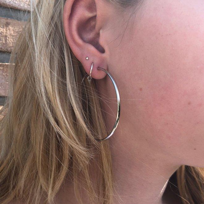 zilveren creolen oorringen 50 mm ovale buis 2,8mm