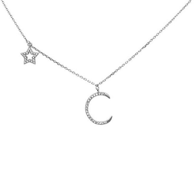 Zilveren moon en star ketting