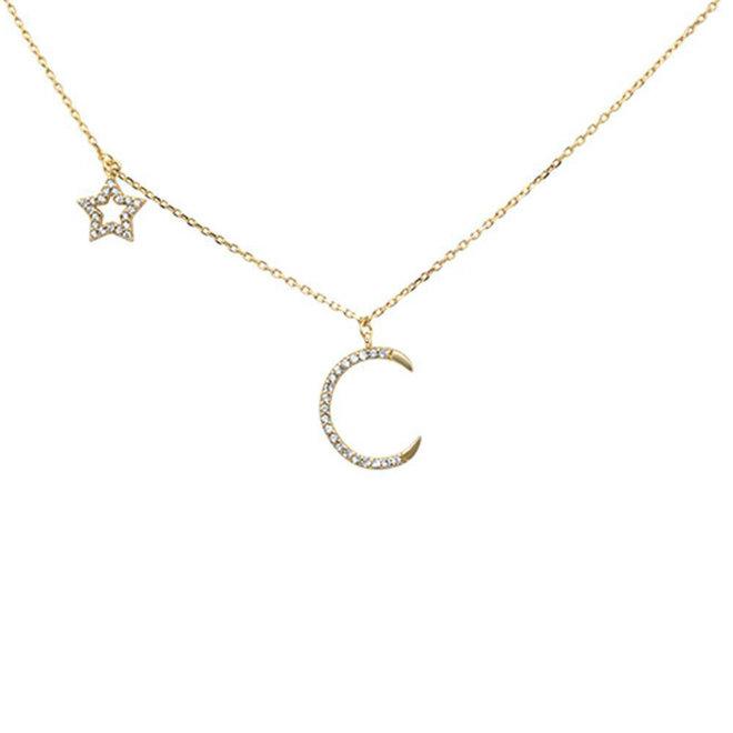 Goud op 925 zilver moon en star ketting