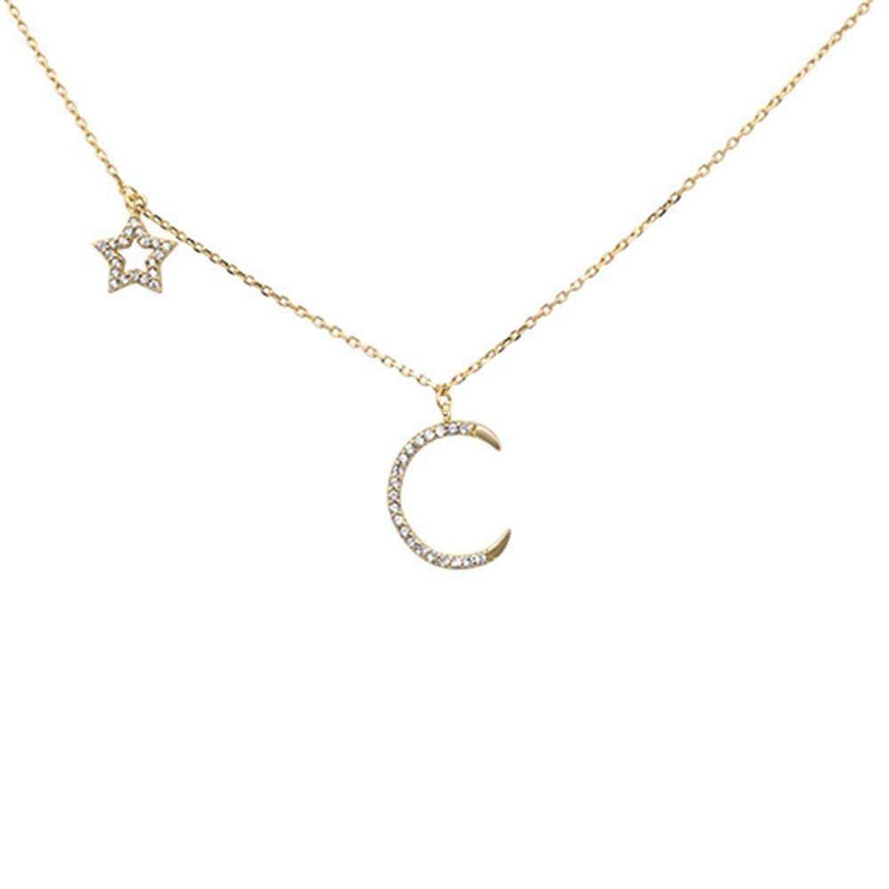 Vermeil goud op zilver moon en star ketting-1