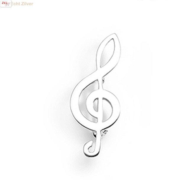 Zilveren broche vioolsleutel muzieknoot