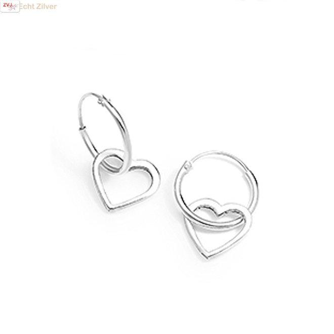 925 zilveren kleine oorringen met hartjes hangers
