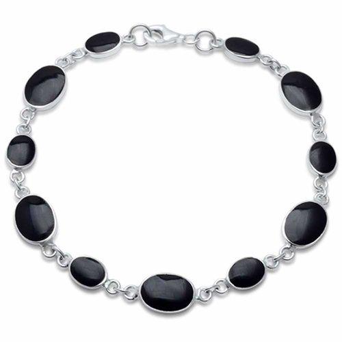 ZilverVoorJou 925 Zilveren ovale zwarte onyx edelsteen armband