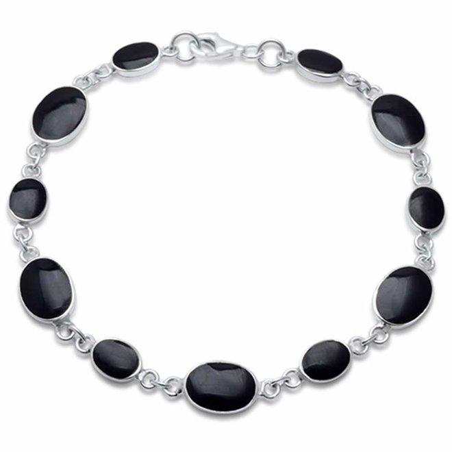 Zilveren ovale zwarte onyx steen armband