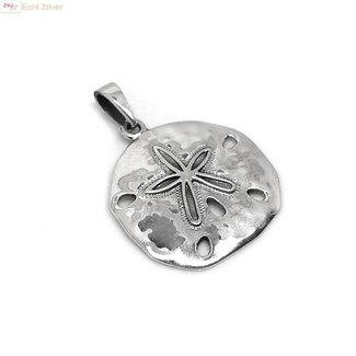ZilverVoorJou Zilveren zanddollar zee-egel kettinghanger