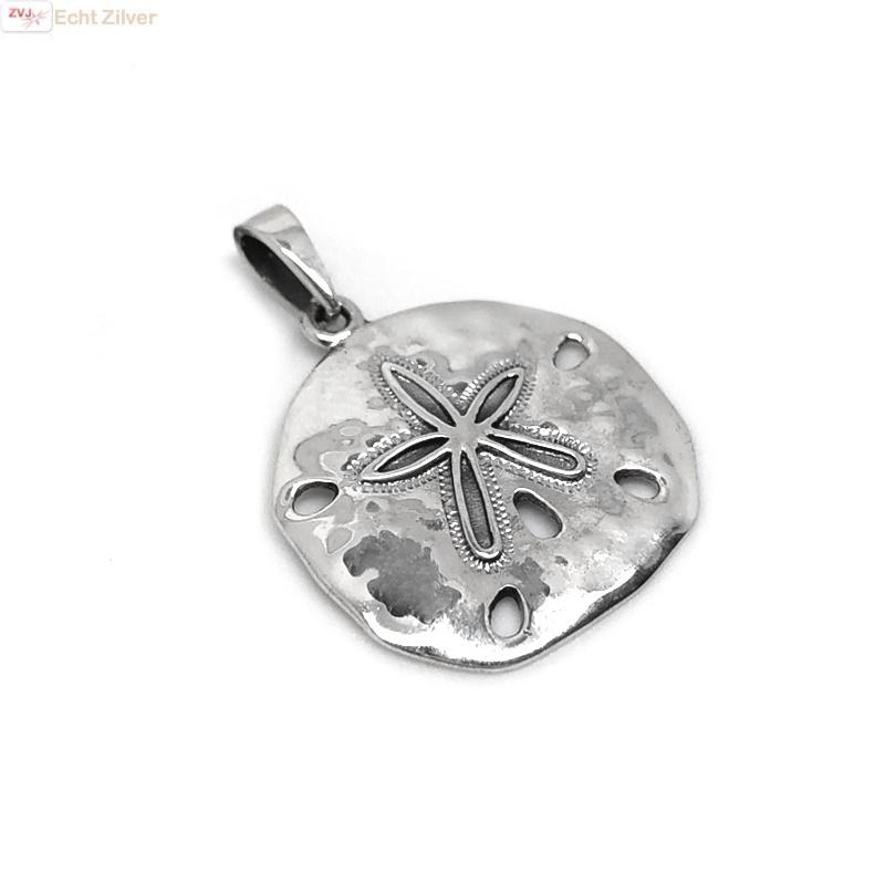 925 Zilveren zanddollar zee-egel kettinghanger-1