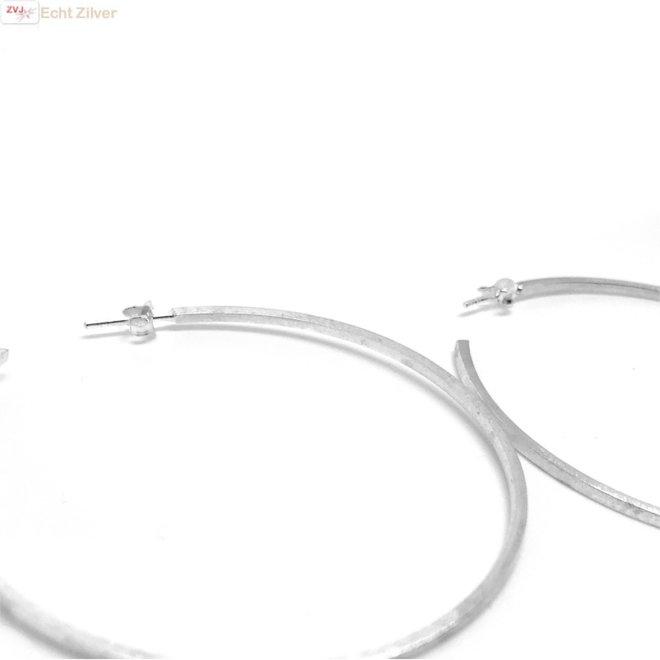 Mat 925 zilveren steek creolen oorringen 60 mm