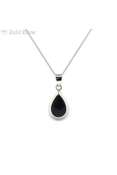 Zilveren ketting met druppelhanger onyx zwart