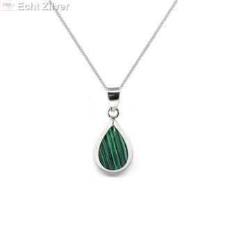 ZilverVoorJou Zilveren ketting met zilveren druppel hanger malachiet groen