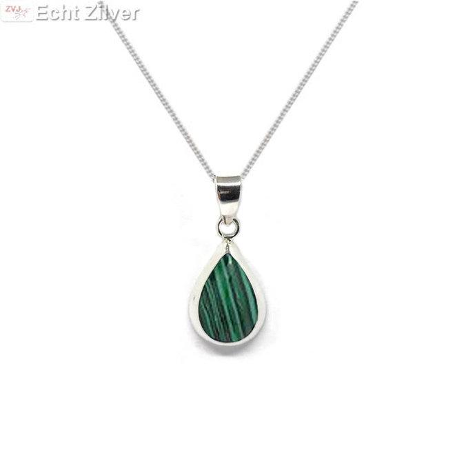 Zilveren ketting met zilveren druppel hanger malachiet groen