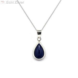 ZilverVoorJou Zilveren ketting met druppelhanger lapis lazuli blauw