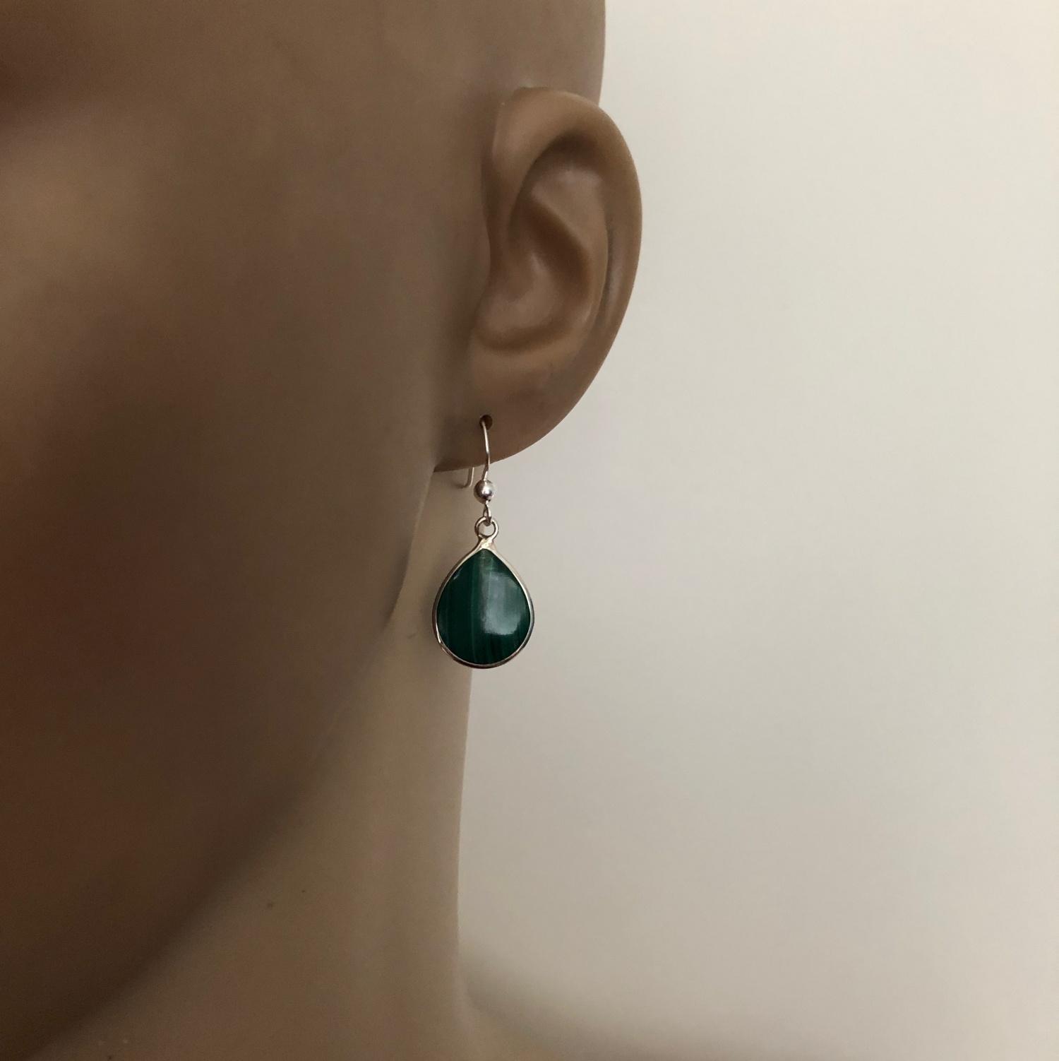 Zilveren druppel oorbellen malachiet groen-3