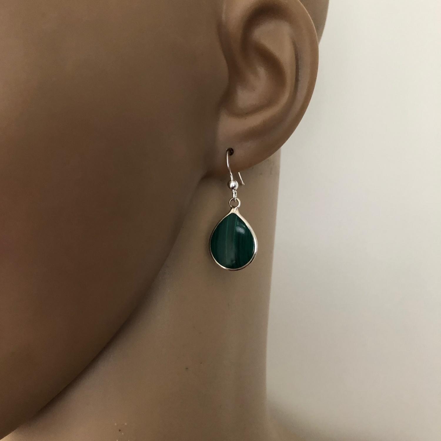 Zilveren druppel oorbellen malachiet groen-4