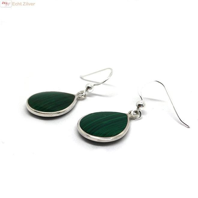 Zilveren druppel oorbellen malachiet groen