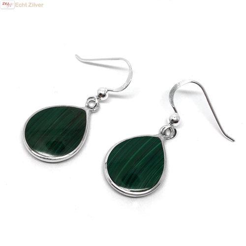 ZilverVoorJou Zilveren druppel oorbellen malachiet groen