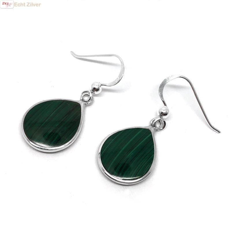 Zilveren druppel oorbellen malachiet groen-1