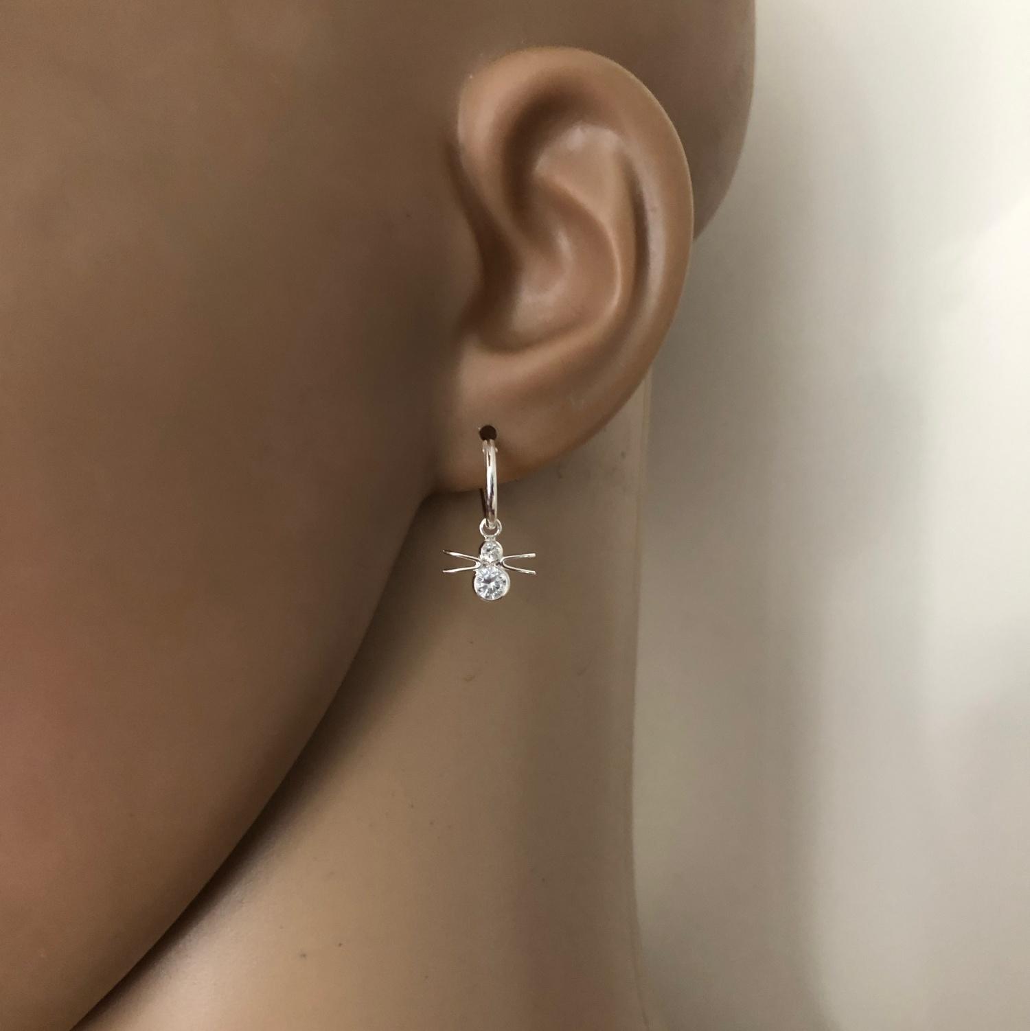 925 zilveren kleine oorringen met spin hangers-2