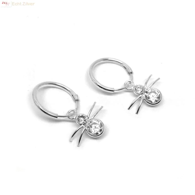 925 zilveren kleine oorringen met spin hangers-1