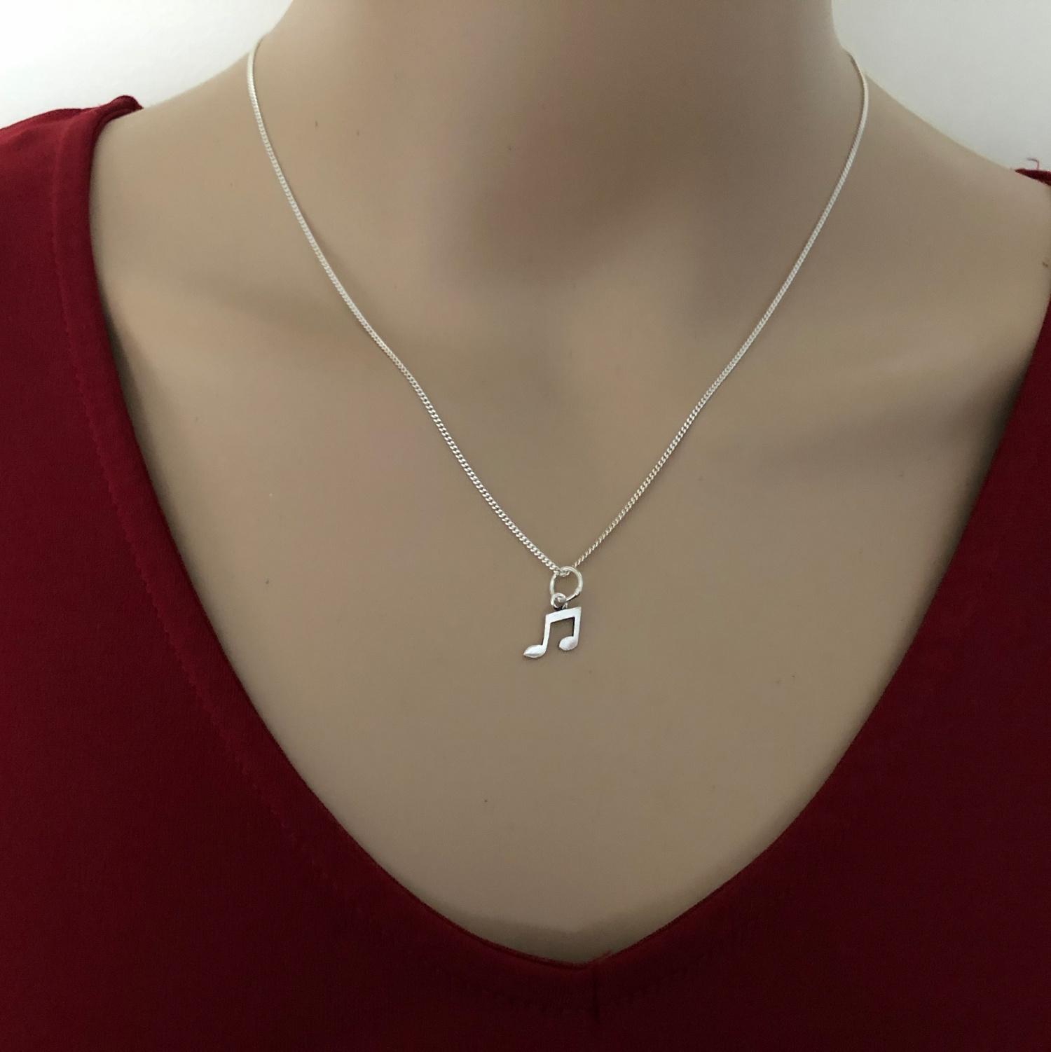 925 sterling zilveren kleine muzieknoot kettinghanger-2