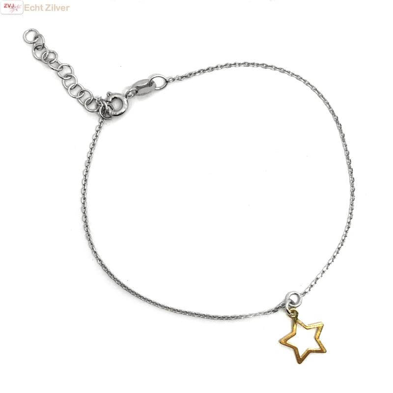 925 zilveren armbandje met open gouden ster hangertje-2