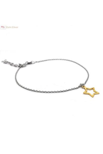 Zilveren fijn armbandje open gouden ster