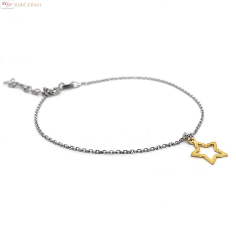 925 zilveren armbandje met open gouden ster hangertje-1
