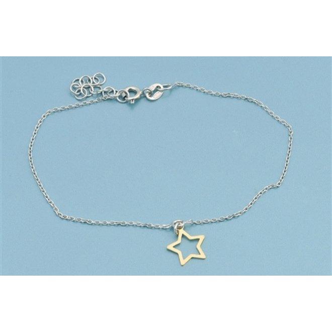 925 zilveren armbandje met open gouden ster hangertje