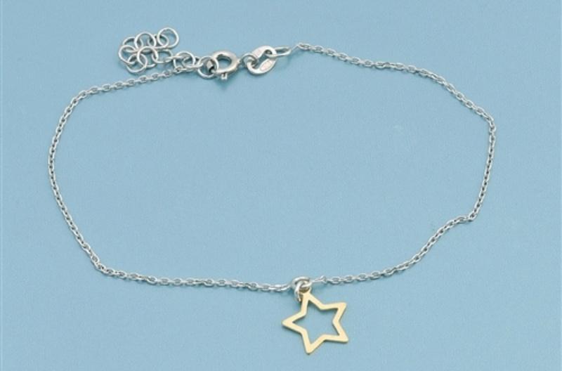 925 zilveren armbandje met open gouden ster hangertje-3