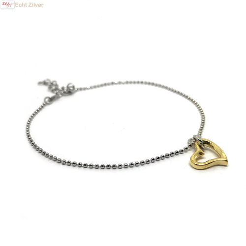 ZilverVoorJou Zilveren fijn armbandje open gouden hart